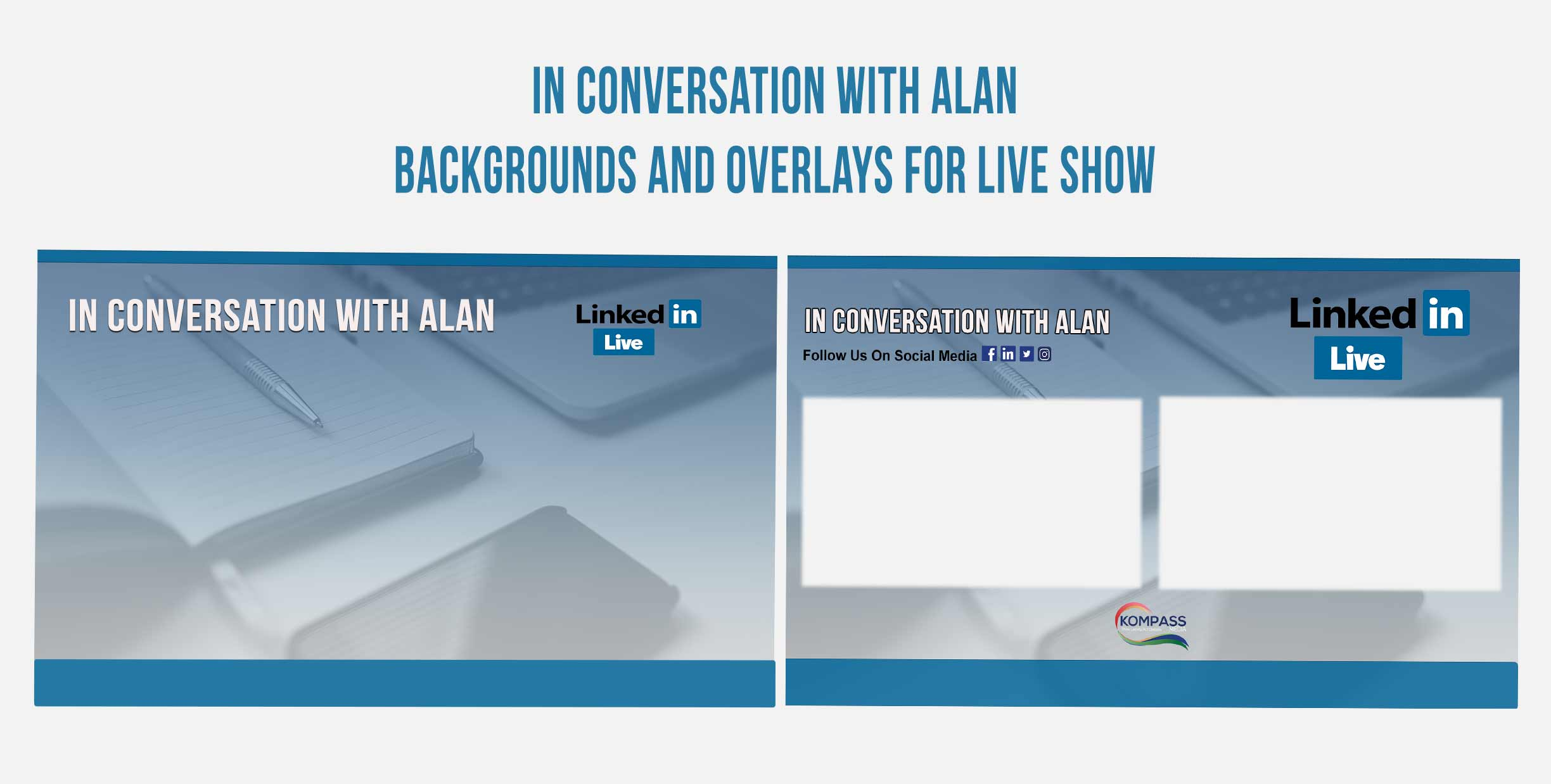 In-Conversation Backgrounds and Overlays Graphic Design for livestreaming Video on Facebook YouTube, LinkedIn and Social Media from Kompass Media Dublin